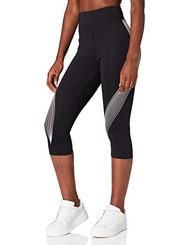 Marca Amazon - AURIQUE Mallas de Deporte Capri Estampadas Mujer, Negro (Black/White), 38, Label:S
