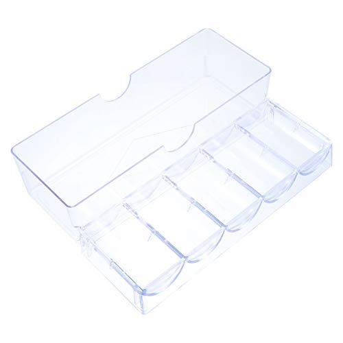 Kisangel Caja de Fichas de Mah Caja Clara de Fichas de Póker Contenedor Vacío DIY Accesorios de Juego para Adultos Y Niños