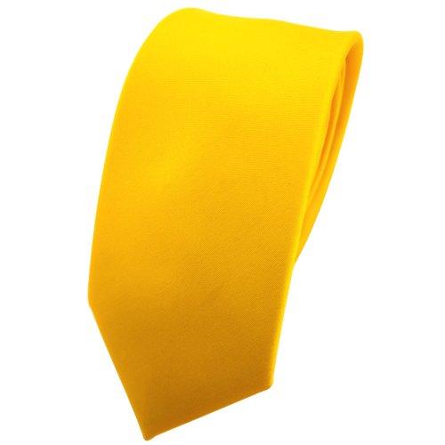 TigerTie schmale Satin Krawatte in gelb verkehrsgelb knallgelb einfarbig uni