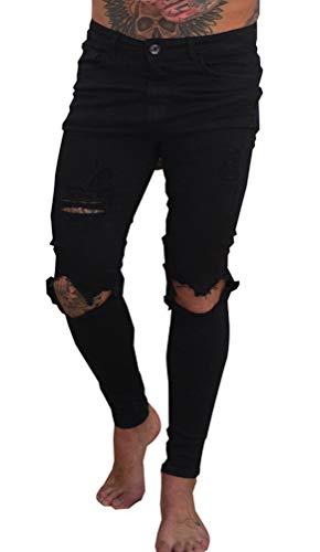 Uomo Pantaloni Jeans Larghi Slim Fit Biker Moto Skinny Strappati Ginocchia Pantalone Denim Hiphop Cargo Casual Pants Sweatpants Nero 34
