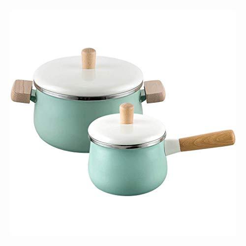 FGDSA Pentola Smaltata in ghisa con Manico in Legno e teglia da Forno Olandese con Rivestimento in Ceramica Antiaderente