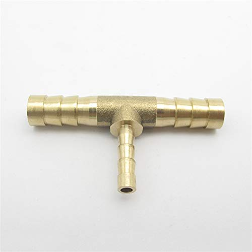Qingn-Brass Fitting 8mm/4mm Hose Barb Tee Brass Barbed Tube Pipe Fitting, Coupler Connector Adapter for Fuel Gas Water, Quick Connection