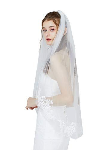 BEAUTELICATE Schleier Brautschleier Spitzenborte Für Braut Hochzeit Softtüll Weiß Elfenbein Fingerspitzen Länge Mit Metall Kamm Kurbelkante 1 Schicht V81