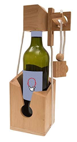 ROMBOL Flaschentresor - Edler Tresor aus Holz für Weinflaschen, Denk- und Knobelspiel , Modell:2