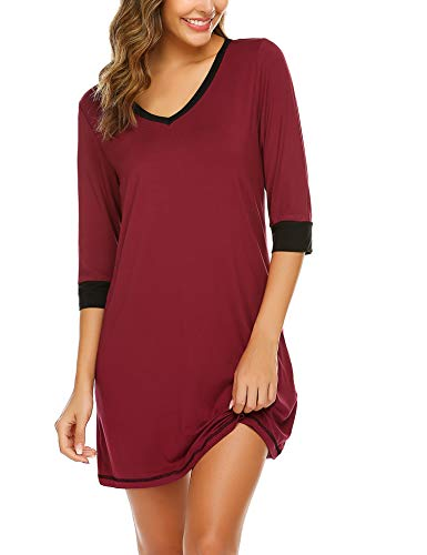 Ekouaer Sleepwear Women Night Shirts V Neck Nightgowns Casual Sleep Shirt 3/4 Sleeve Nightwear Comfy Nighties Wine Red L