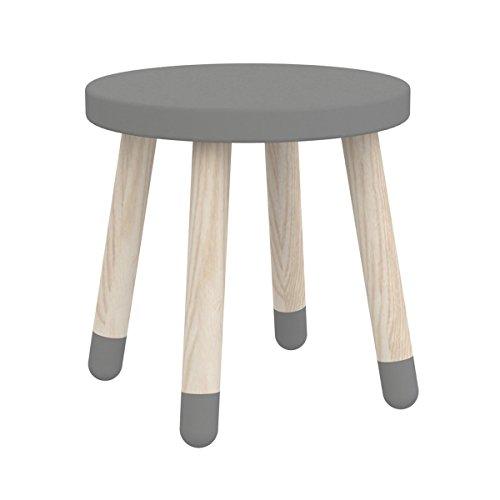 Flexa Kinderhocker Play in grau | Mit robusten Beinen aus Eichenholz, runde Sitzfläche | Leicht und gut für Kinder zu tragen | Ab 3 Jahre, Maße: 30x30cm, Sitzhöhe: 30 cm
