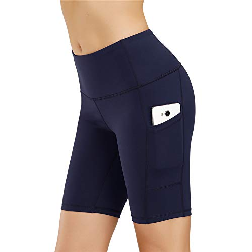 IceUnicorn Damen Sport Leggins Shorts Hohe Taille Tights 3/4 Yogahose Blickdichte Kurz Laufhos Fitness Hosen Jogginghose mit Taschen Short(1/2 Marine, M)