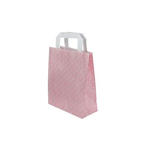 BIOZOYG Papiertragetaschen mit Flachhenkel 80g 18+8x22cm I Feste Papier Tüten Kraftpapier I Geschenktüten Give Aways Party Tüten I Papierbeutel Blockboden 25 Papiertaschen rosé/weiße Punkte