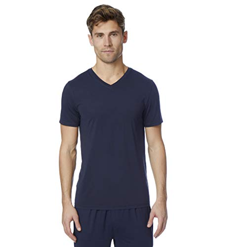 32 DEGREES Mens Cool Quick Dry Active Lounge Basic Vneck T-Shirt, Navy, Medium