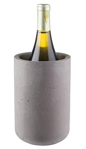 """Buddy´s Bar - Flaschenkühler """"Concrete"""", hochwertiger Sektkühler aus Beton, 12 x 19 cm, möbelschonende Unterseite, Innendurchmesser 10 cm, Weinkühler geeignet für 0,7 L - 1,5 L Flaschen, Beton grau"""