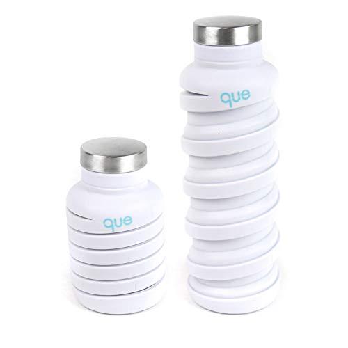 Botella «que» | diseñada para viajar y estar al aire libreBotella de agua plegable – silicona de grado alimentario / sin BPA / ligera / ecológica – 591 ml, 20 fl oz, Blanco (Glacier White)