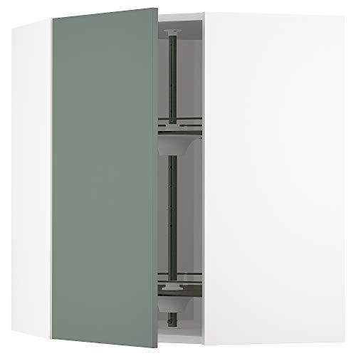 METOD armario esquinero con carrusel 67,5x67,5x80 cm blanco/Bodarp gris-verde