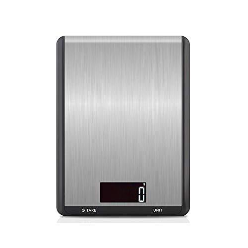 Digitale keukenweegschaal, professionele elektronische voedselschaal roestvrij staal met hoge precisie slimme weegschaal, zachte functie LCD-scherm, slank ontwerp duurzaam voor thuis, keuken, bakken 5kg / 1g Zwart