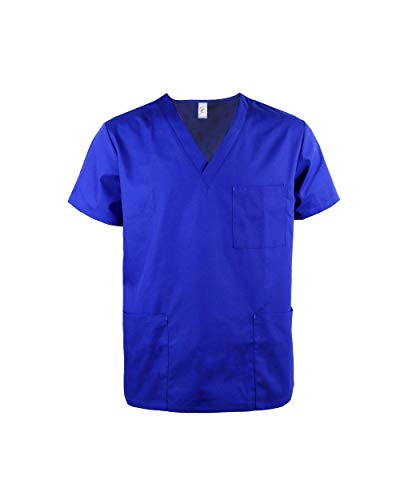 JONATHAN UNIFORM Haut Blouse de Travail pour Homme avec 3 Poches, V Col Uniforme Manches Courtes pour Estheticienne Spa Massage (Bleu, XL)