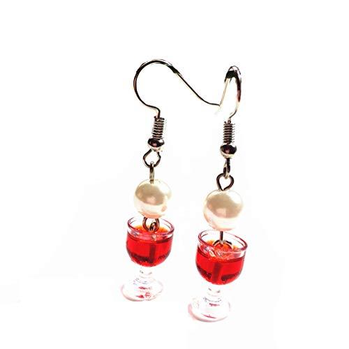 Winwinfly Women Wine Glass Shape Earrings Handmade Mini Food Jewelry for Wine Lover,Red