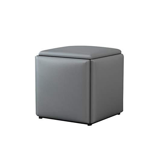 Hocker, Fusshocker Outdoor, Fußhocker Flur, 5 Platzsparender Zusätzlicher Sitz für Wohnzimmer, Flanell/Leder,Gray Leather,Large