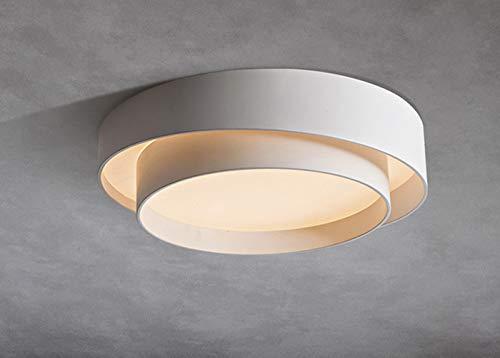 Lámpara LED de techo de 50 cm de diámetro, 36 W, color blanco, doble capa, moderna, regulable, con marco de metal, ideal para dormitorio, cocina, salón
