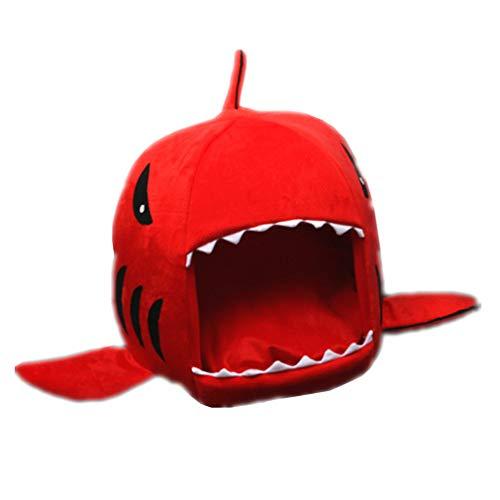 Facilla® Rot Hai-Form Hundebett Abnehmbar Haustier Katze Hündchen Schlafendes Bett mit Kissen Mat Warm Zwinger von SamGreatWorld