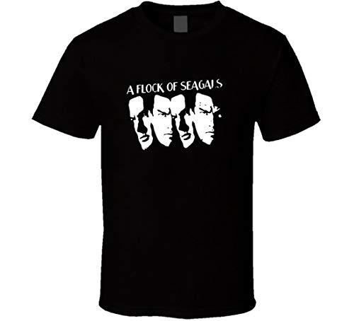 """T-Shirt mit der Aufschrift """"N/N Steven Seagal Flock of Seagals Seagals Seagulls"""" Gr. L, Schwarz"""