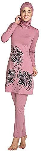 WOWDECOR - Bañador musulmánico para mujer y niña, con cubierta completa de hijab, musulmán islámico, protección UV, rosa oscuro, Asien 4XL=EU-Größe 46-48