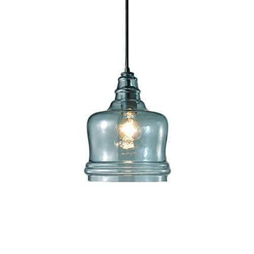 Luminarias, 212, Luz colgante geométrico Lámpara de colgante azul Acabado azul Moderno Luz de vidrio Shade E27 Altura Ajustable Lámpara colgante para sala de estar Dormitorio Cocina Oficina Pasillo In