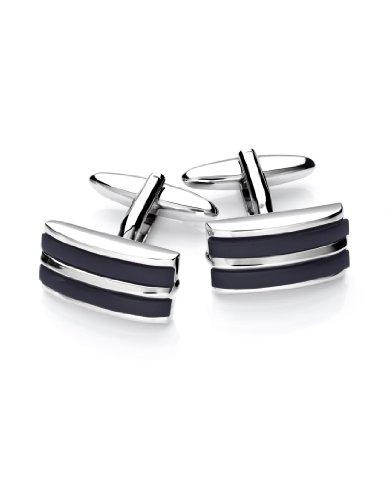 Vincenzo Boretti Herren Manschettenknöpfe rechteckig Silber-schwarz Onyx Box Etui edel elegant zum Hemd für Business Hochzeit