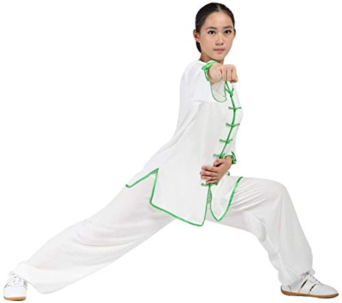 DFBGL Ropa de Tai Chi para Mujer, Traje de meditación Zen Uniforme de Tai Chi Ropa de Kung Fu Chino Traje de Yoga de algodón, WhiteA-L
