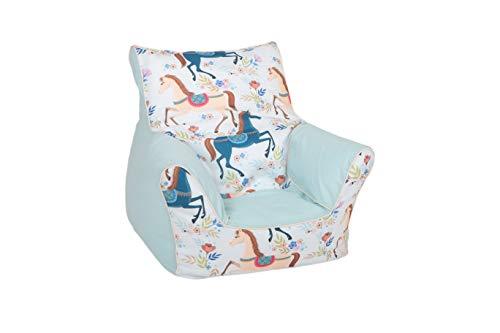 Delsit TEX5-2000 - Puf infantil para habitación de juegos, diseño de caballos, color azul