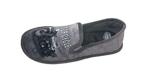 Biorelax Hausschuhe/Pantoffeln Herren Ferse Schließung/Grenoble Material/Motorrad Zeichnung/Gepolsterte Ferse/Luftkammer/Größe 42
