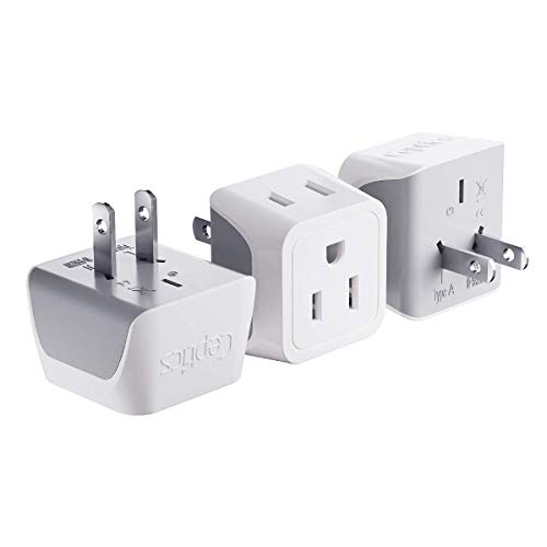 Japan, Philippines Travel Adapter Plug bu Ceptics - USA 3 Pin Polarized to 2 Prong Unpolarized - Type A (3 Pack) - Dual Inputs - Ultra Compact - Perfect for Cell Phones, Tablet, Camera Chargers (CT-6)