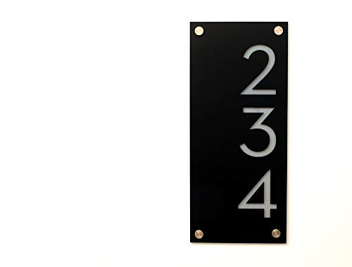 Modern House Numbers, Black Acrylic with Grey Acrylic - Vertical - Contemporary Home Address -Sign Plaque - Door Number