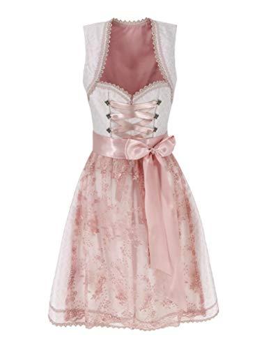 Lukas Dirndl Exklusives Designer Midi Damen Dirndl 2TLG. Kleid inkl. Spitzen Dirndlschürze - 18111 (44)