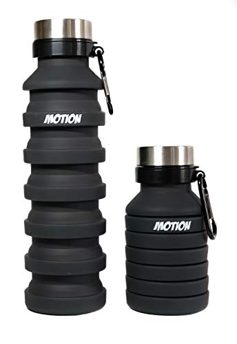 MOTION Collapsible Travel Water Bottle, 550ml foldable water bottles Ideal for travelling, gym, hiking, camping and outdoor sport activities. Small drip proof reusable bottle with aluminium carabiner
