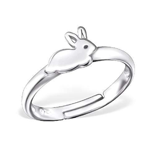 Kinder Ring Fingerring Hase Häschen verstellbar 925er Silber Mädchen