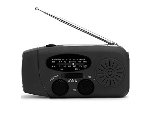 Emergencia FM Radio, Retro portátil con 1000mAh de energía móvil Manivela Solar Radio autoalimentado con 3 linternas LED, Hace a su Familia Segura (Color : Black)