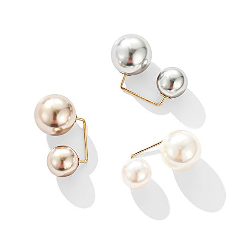GHJYUK Fashion Pearl Brooch- Women Lapel Anti-Glare Safety Brooch Pins, Right Angle Double Pearl Brooch Pins, for Sweater Cardigan Clip Clothing Jeans Scarf Hat Bag Christmas Lapel Pin A4