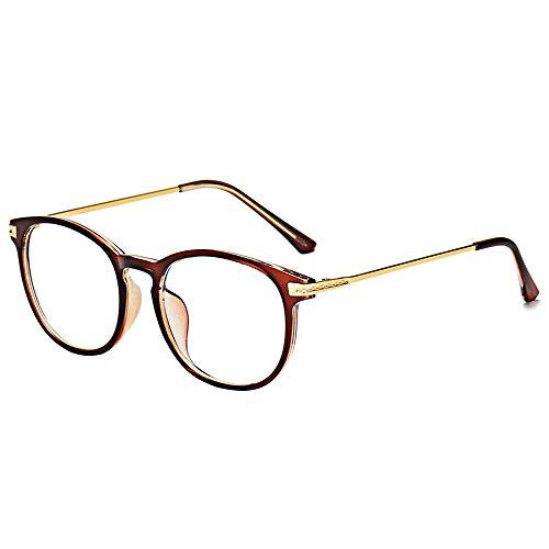 BOZEVON Blaulichtfilter Brille - Anti Blaulicht Brillen Ohne Sehstärke Damen Herren Computer Gaming Brillen Anti Müdigkeit Leicht Brillengestelle mit Etui, Braun A