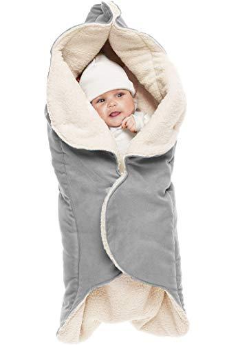 Wallaboo Einschlagdecke für Babyschale, Autokindersitz, für Kinderwagen, Buggy, Babybett, Schönen Blumenform, Veloursleder und fleece, 85 x 85 cm, 0 - 12 Monaten, Farbe: Grau