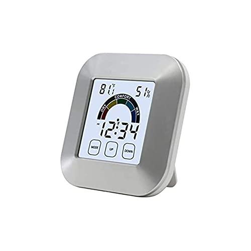 ELXSZJ XTZJ Termómetro Interior inalámbrico al Aire Libre, Monitor de Humedad de Temperatura Digital con Alta precisión, higrómetro de habitación, Pantalla de Color HD, Reloj Despertador