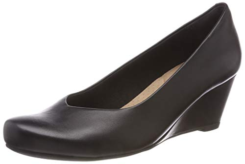 Clarks Damen Flores Tulip Geschlossene Sandalen, Schwarz (Black Leather), 38 EU