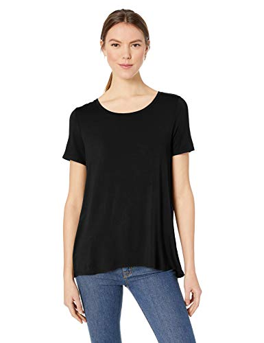 Amazon Essentials Women's Relaxed-Fit Solid Short-Sleeve Scoopneck Swing Tee, Black, M