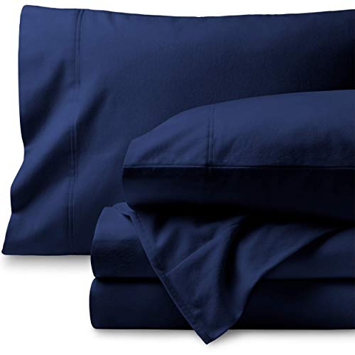 Bare Home Flannel Sheet Set 100% Cotton, Velvety Soft Heavyweight - Double Brushed Flannel - Deep Pocket (Full XL, Dark Blue)