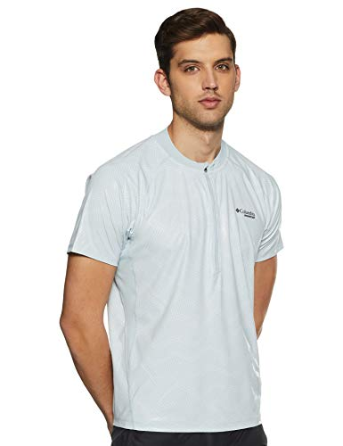 Columbia F.K.T. II T-shirt à manches Courtes, Homme, Cirrus Grey Embossed Print/White Zip, XL