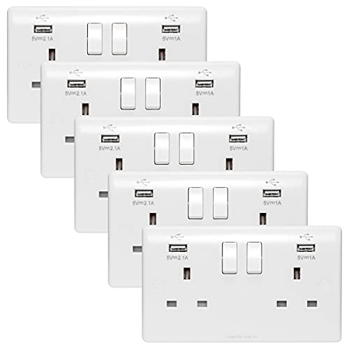 5 x USB Double Wall Plug Socket 2 Gang 13A with 2 USB Charger Port Outlets...