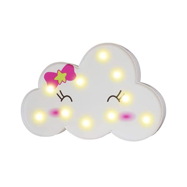 LED Cloud Night Lights, 3D Smile Marquee Cloud Signs, Battery Operated Decorative Lamp Toy Home Wall Decor for Girls Kids Baby Nursery Room Dorm (Bowknot Cloud)