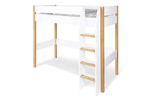 Pinolino Hochbett Ville, mit Lattenrost, für 90 x 200 cm Matratzen, umbaubar zum Jugendbett, für Kinder und Jugendliche, weißes MDF, lackierte Buche