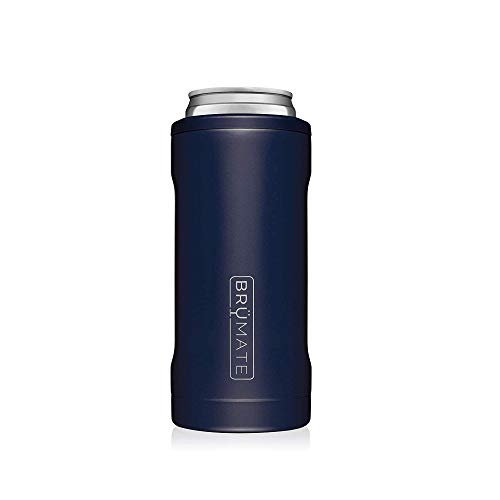BrüMate Hopsulator Slim Double-walled Stainless Steel Insulated Can Cooler for 12 Oz Slim Cans (Matte Navy)