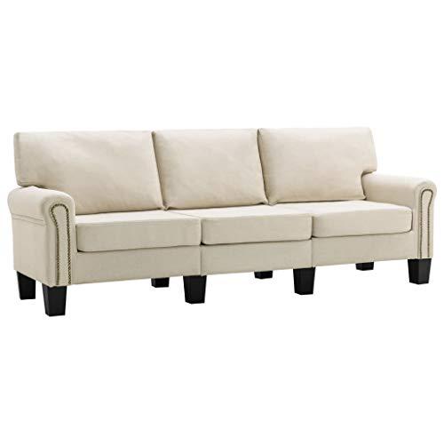 vidaXL Sofa 3-Sitzer Dreisitzer Loungesofa Polstersofa Stoffsofa Sitzmöbel Polstermöbel Designsofa Couch Creme Stoff Kunststoffbeine