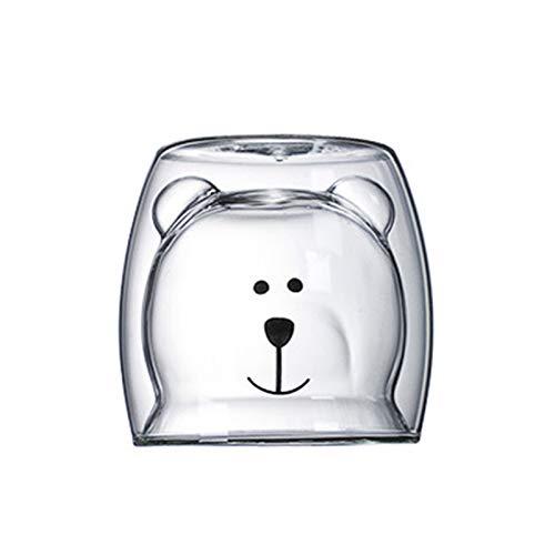 Taza de agua Taza de cristal Taza de cristal de la pared de la pared, taza de cristal de doble capa de gato de oso taza de café, taza de la Navidad, regalo de la taza de la Navidad, taza linda del té