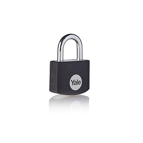 Yale YE3B/25/112/1/BK - Candado de aluminio de 25 mm, asa de acero, negro, 3 llaves, para taquilla, caja de herramientas, bolsa...